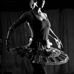 Solar Ballerina: detail of dancer with solar-powered and sound-making (electroacoustic) tutu.